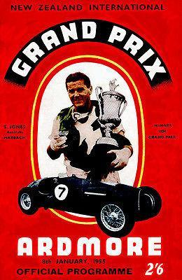 Primary image for 1955 New Zealand International Grand Prix - Program Cover Poster
