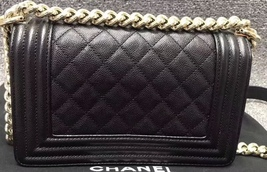 NEW 100% AUTHENTIC CHANEL 2017 BLACK QUILTED CAVIAR SMALL BOY FLAP BAG GHW image 4