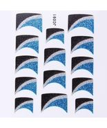 BANG STORE Nail Art Decal Stickers Glitter Nail Tips Blue Black Silver W... - $3.68