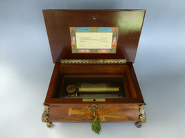 Vintage Swiss Reuge Music Box 72 / 3 High Quality Brass Feet Wooden Inlay Case - $1,678.05