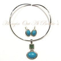 Faux Turquoise Necklace & Earring Set Fashion Costume Jewelry Silver Ton... - $19.99