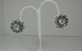 Clear & Grey Rhinestone Clip On Earrings - $10.88