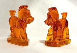 Imperial Heisey Orange Tangelo Glass OSCAR SPARKY Plug Horse HCA 1983 Pair - $48.33