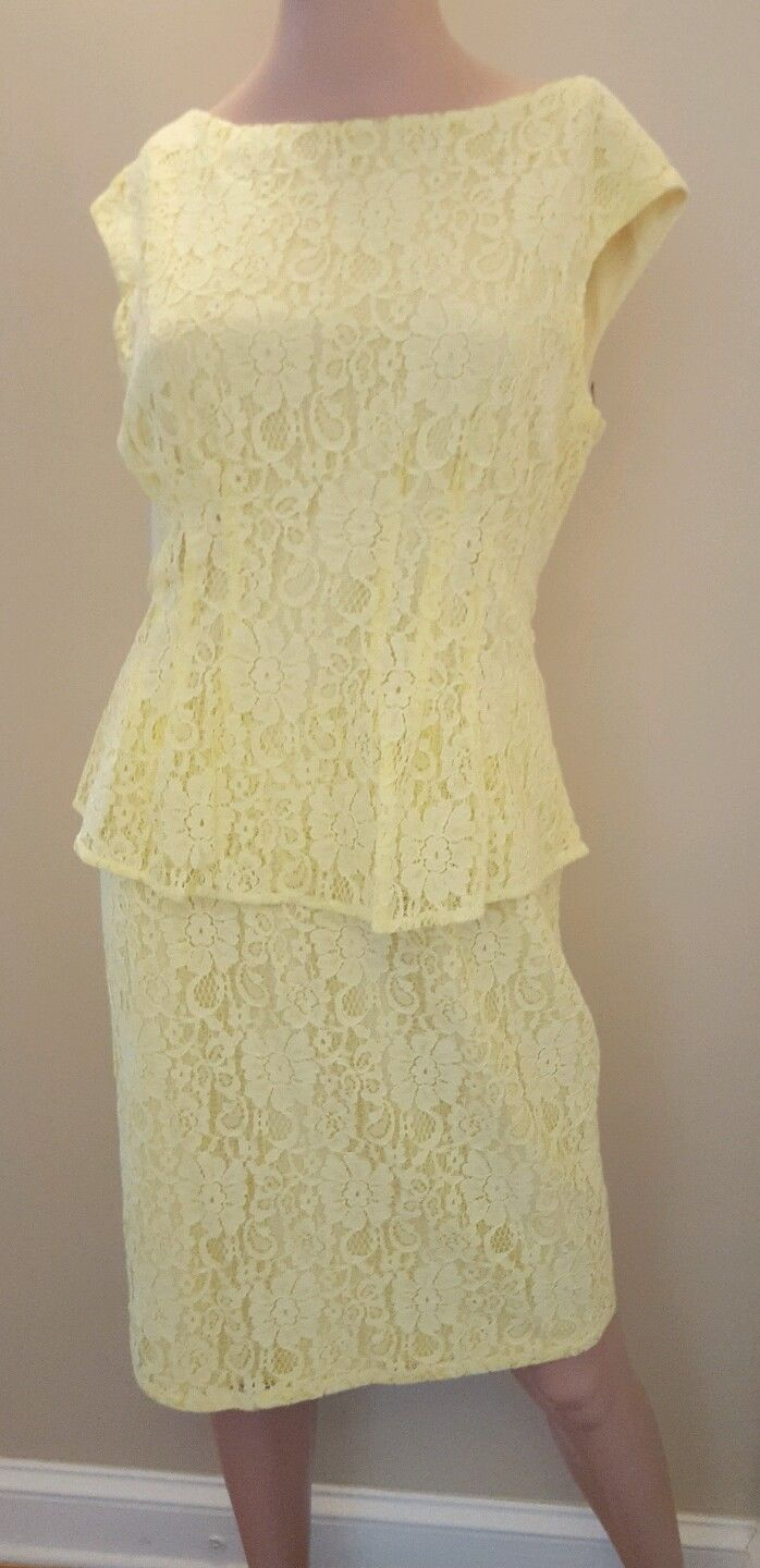 American Living By Ralph Lauren Yellow Sleeveless Lace Cocktail Dress Size 10