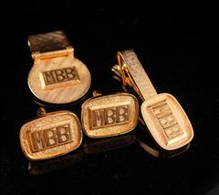 Initial Cufflinks / Vintage MBB Tie clip / Mens money clip set /  letter... - $145.00
