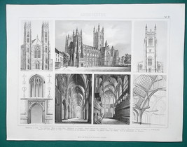 ARCHITECTURE English Cathedrals York Westminster Oxford - 1870 Engraving... - $16.20