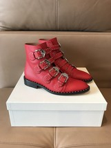 Givenchy $1395 Red Leather Buckled Boots in size 38--8 US.!! NIB.!! - $688.05