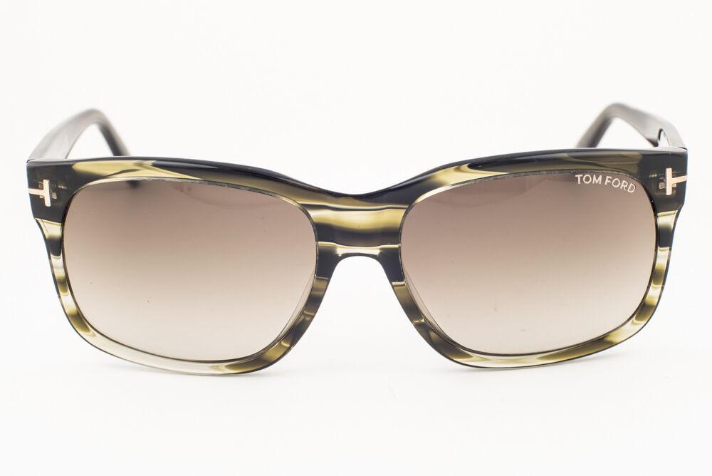 Tom Ford Barbara Striped Green / Gray Gradient Sunglasses TF376 98K 58mm