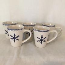 Set of 5 Gibson Holiday Snowflake Sponge Coffee Cup Mug - $14.84