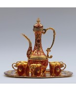 """8pc. Beautiful 12"""" Plate Gold & Red Color Metal Wine/Tea/Coffee Set ! - $249.99"""