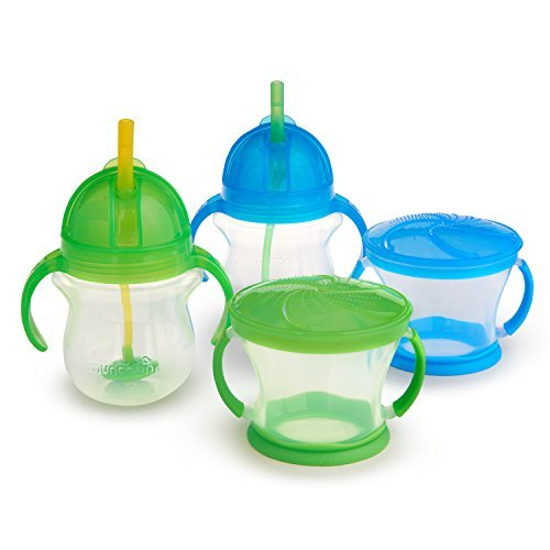 Munchkin Happy Snacker Snack Catcher and Sippy Cup Set, 4 Count, Blue/Green