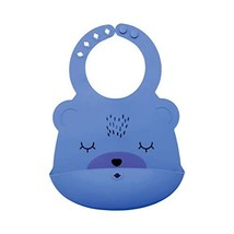 Tiny Twinkle Silicone Roll-Up Bib - Indigo Blue Bear - Waterproof Toddle... - $12.00