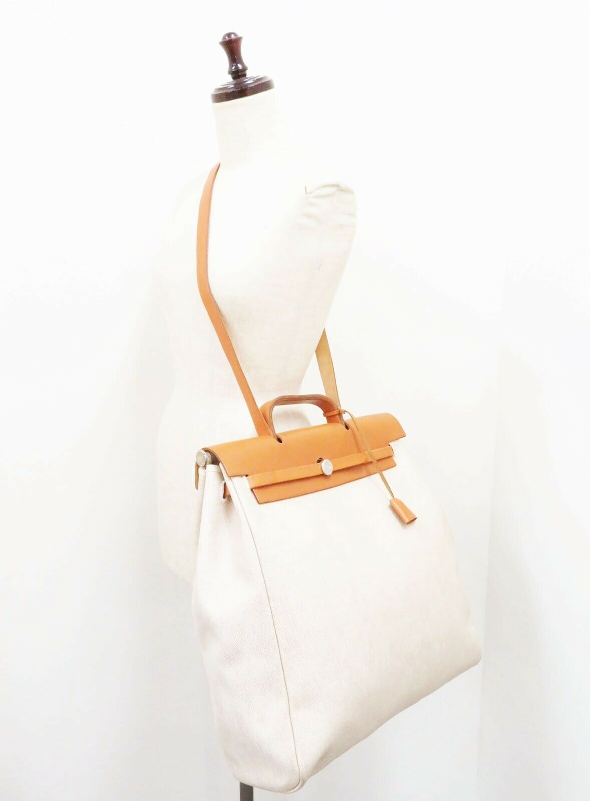 Auth HERMES Her Bag 2 in 1 Beige Canvas and Leather Hand Shoulder Bag #26110 image 3