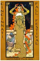 Cincinnati POSTER.Stylish Graphics.Nouveau Festival.Wall room.Decor.668i - $10.89+