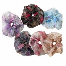 6 Pcs Large Size Retro Hair Scrunchies Organza Floral Hair Band Ponytail Holder
