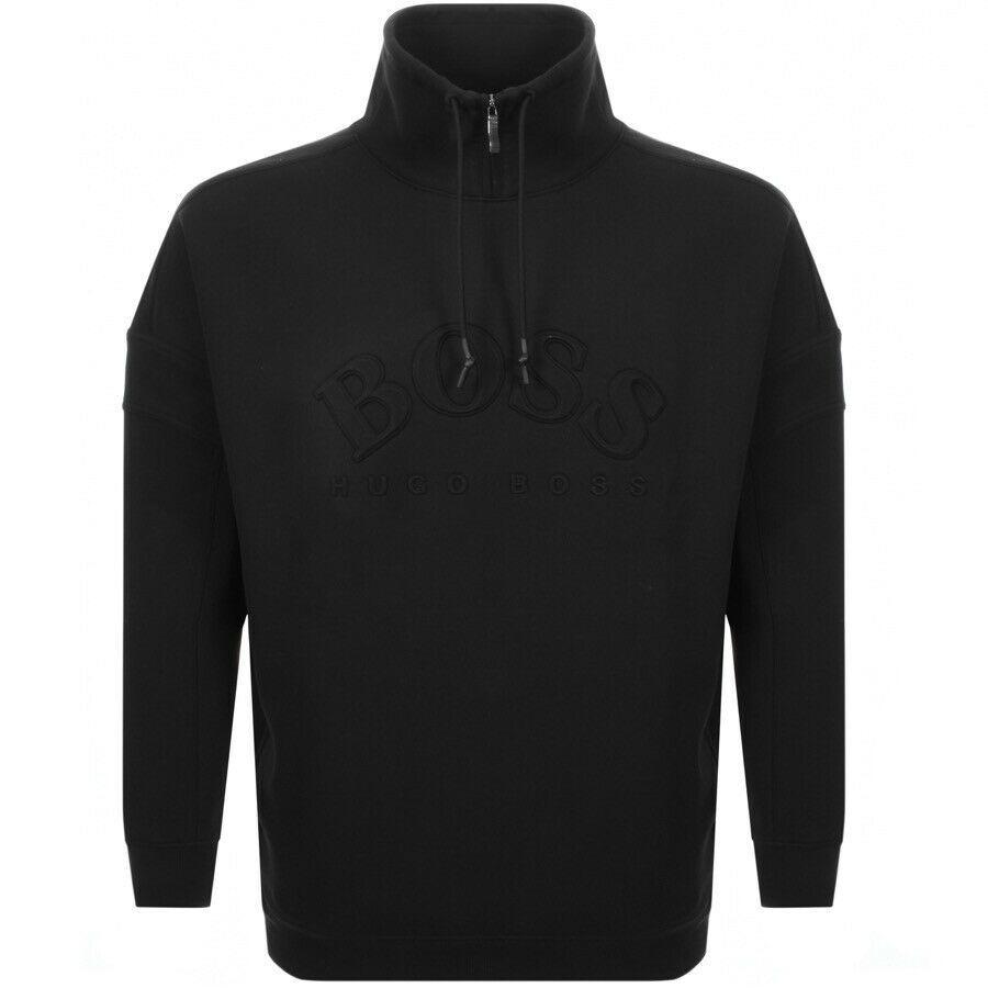 Hugo Boss Relaxed-fit Sweater Sweatshirt Jacket Curved Logo Drawstring Collar