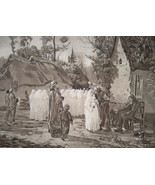 COMMUNICANTS Girls 1st Day Communion by J. Breton - 1888 Fine Antique Print - $21.60