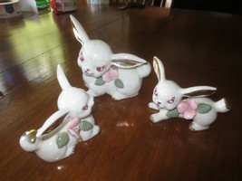 3-Pc. Vintage CHASE Hand Painted China MOM & BABY BUNNIES FIGURINE SET -... - $9.90