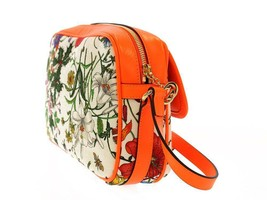 GUCCI Flora Shoulder Bag Leather Canvas Neon Orange White 550147 Italy A... - $1,100.91