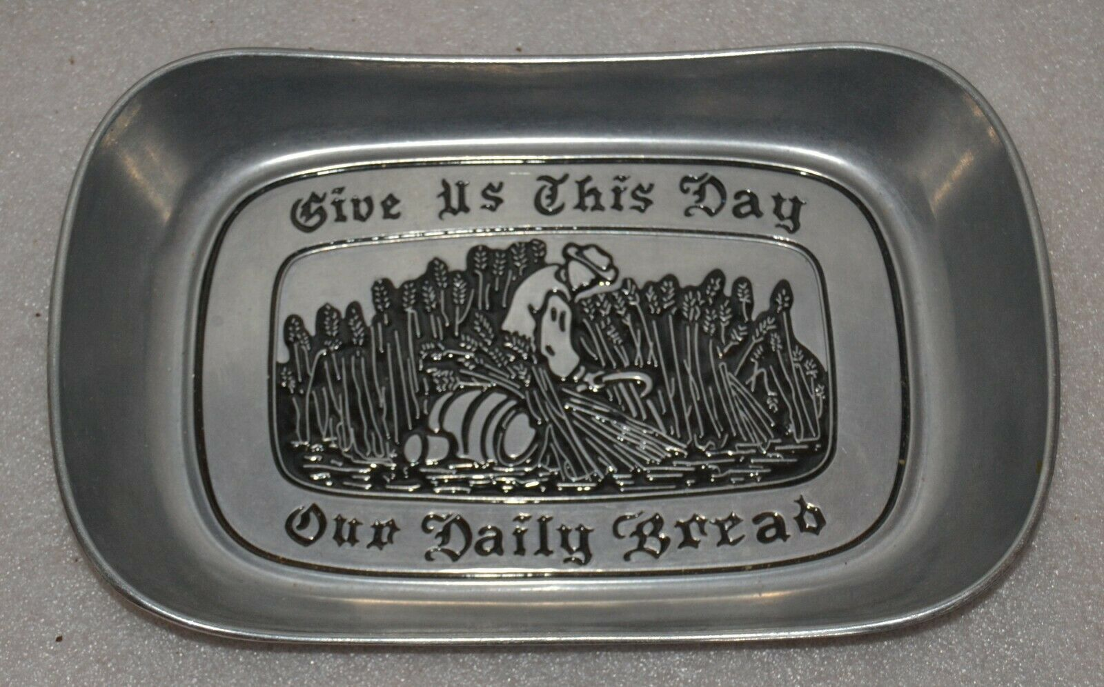 "Primary image for Wilton Armetale Elegant Pewter Bread Tray ""GIVE US THIS DAY OUR DAILY BREAD"""