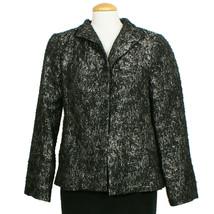 EILEEN FISHER Black Silver Metallic Jacquard Wool Blend Open Front Jacke... - $209.99