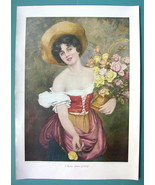 "YOUNG BEAUTY Selling Roses - COLOR VICTORIAN Era Print 15"" x 21"" - $18.90"