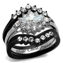 WOMEN'S BLACK STAINLESS STEEL 2 PRONG MARQUISE CUT CZ WEDDING RING SET S... - $22.04