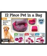 Allison Fuchsia Set gift Dog Bed pillow, blanket bowls scoop Collar Leas... - $29.69