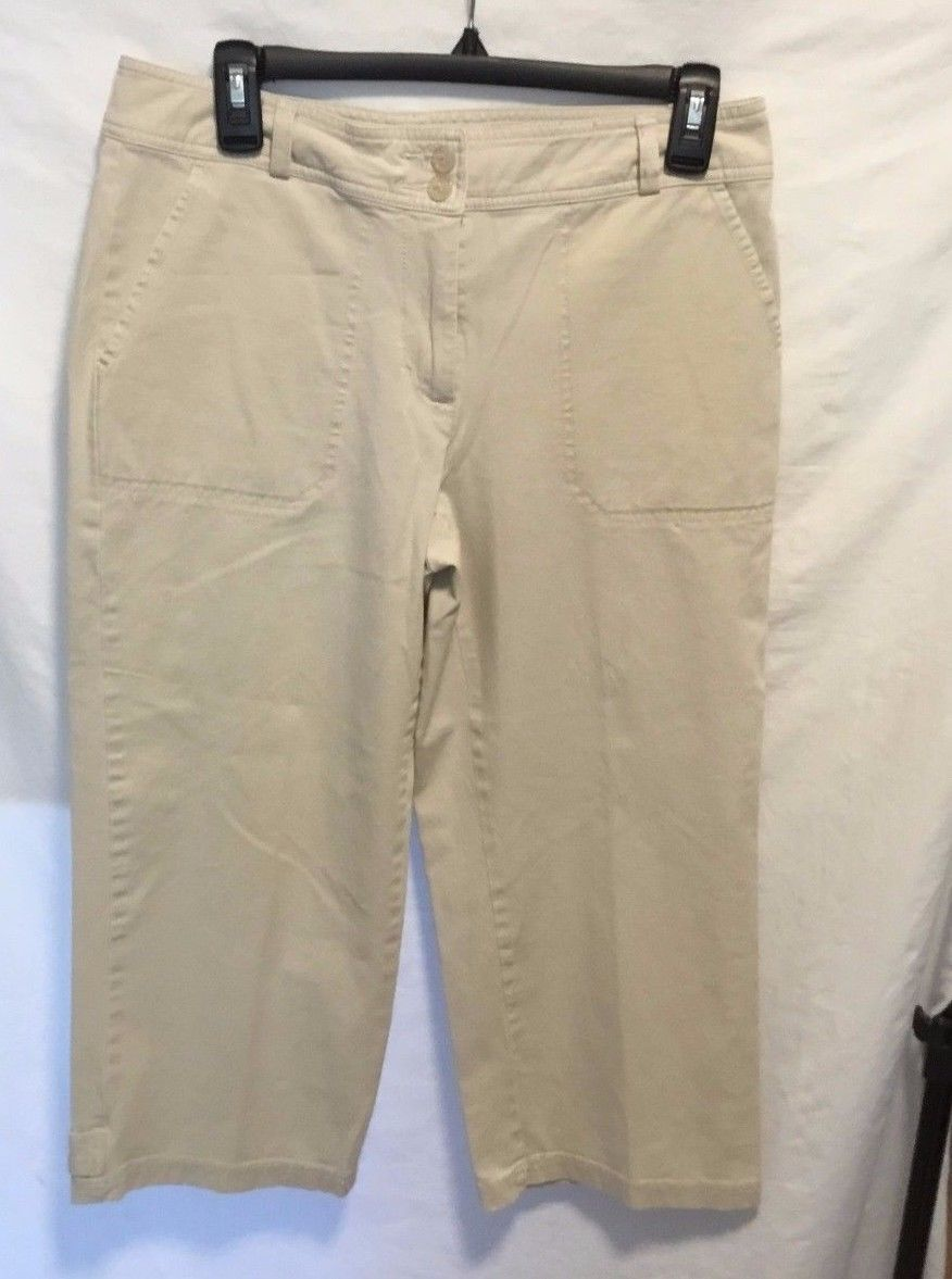 Coldwater Creek 4 Khakis Navy Blue Chinos Pants Career Capris Stretch 28 X 23 Women's Clothing