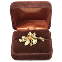 Vintage Avon Enameled Rose Pin / Charm in Copper Colored Gold Tone and G... - $9.46