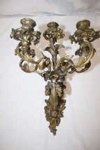 Antique 20th Century French Dore Guilt Bronze 5-Light Candelabra Wall Sc... - $399.99