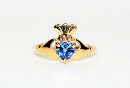 Vibrant Irish Claddagh .80ct Ceylon Sapphire 10kt Yellow Gold Solitaire ... - $962.49