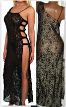 Black Gold Stretch Lace Long Nightgown 1X 3X Sexy Open Side Lingerie - $24.00