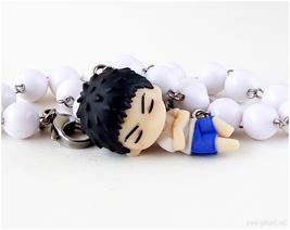 Yukio Kasamatsu Anime Necklace, White, Chibi Characters, Kawaii Jewelry - $22.00