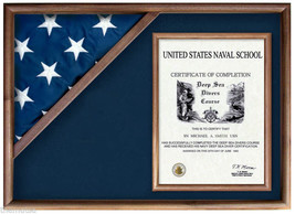 DISPLAY CASE FLAG MILITARY INSIGNIA WOOD SHADOW BOX - $388.07