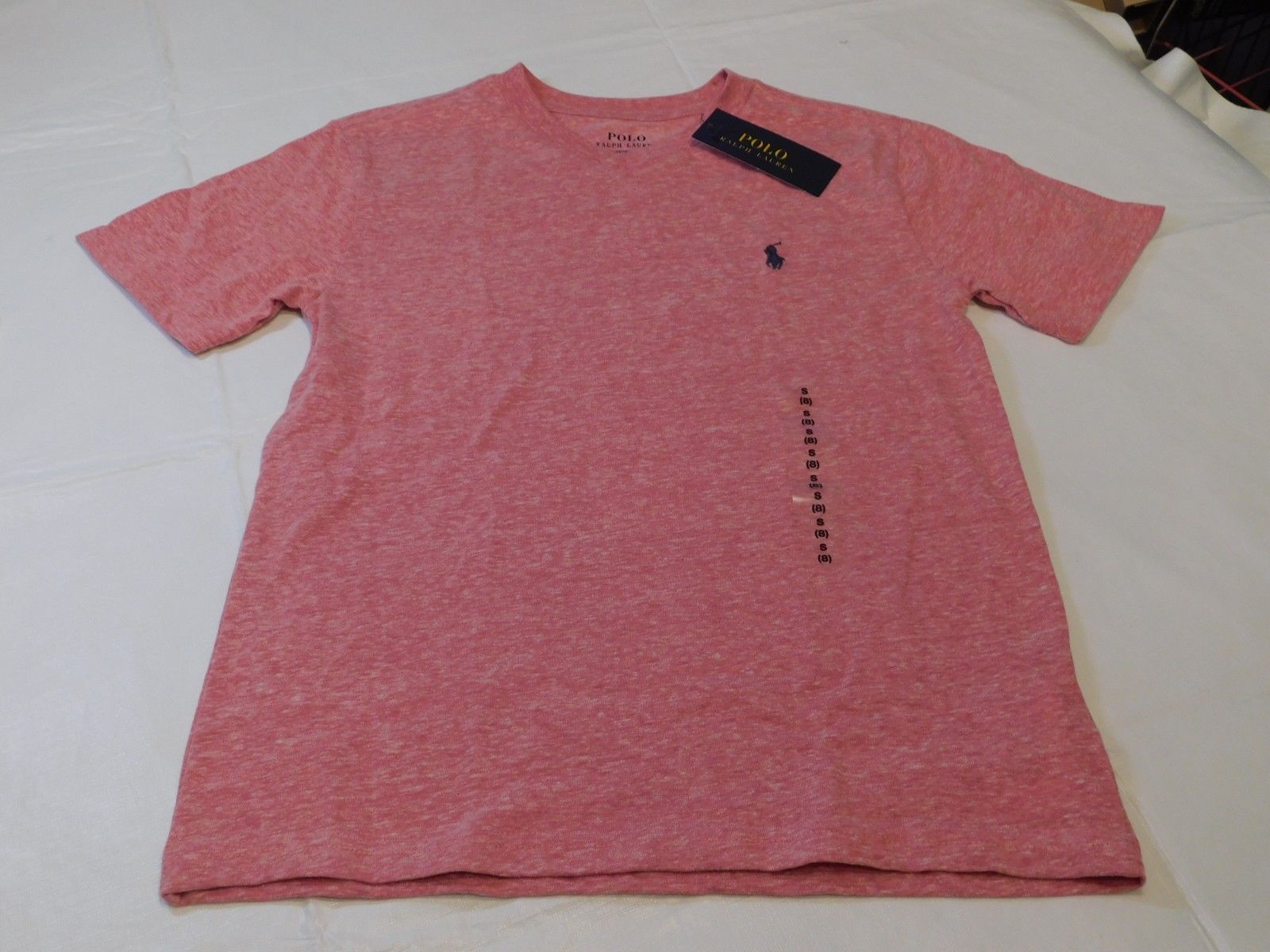 Polo Ralph Lauren Boys Youth Short Sleeve T Shirt S 8 Red Heather 644001 NWT