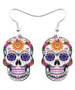 Acrylic Halloween Rose Flower Skull Earrings Drop Dangle Big Long Fashio... - £17.44 GBP
