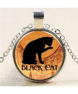 BLACK CAT CABOCHON NECKLACE       **COMBINED SHIPPING**   (D12) - $2.99
