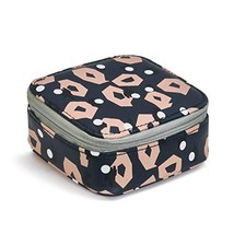 Good Vibes Pink Navy Patterned Women's 3.5 x 4.5 Inch Nylon Zip Around Travel Pi