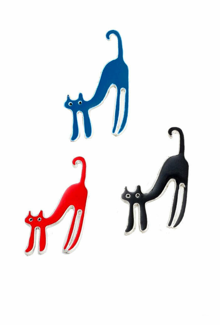 Set of 3 Scared Kitten Enameled Lapel Pins in Blue Red and Black, Cat Lover Gift - $11.88