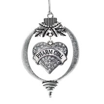 Inspired Silver Pharm Girl Pave Heart Holiday Christmas Tree Ornament With Cryst - $14.69
