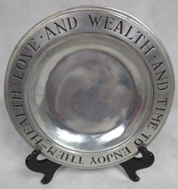 Vintage Wilton Armetale Pewter Plate Health Love And Wealth And Time To ... - $9.90