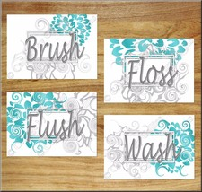 Turquoise Gray Teal Bathroom Wall Art Prints Decor Floral Wash Brush Flu... - $13.99