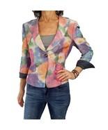 ARMANI COLLEZIONI 12 M/L linen blend blazer water colors jacket 3/4 slv ... - $88.11