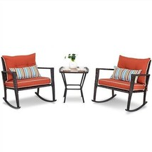 Outdoor 3-Piece Rattan Brown Rocking Chairs and Table Set with Red Cushions - $295.02