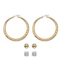 "4 TCW Cubic Zirconia Gold Tone 3-Pair Set of Stud and Textured Hoop Earrings 2"" - $22.49"