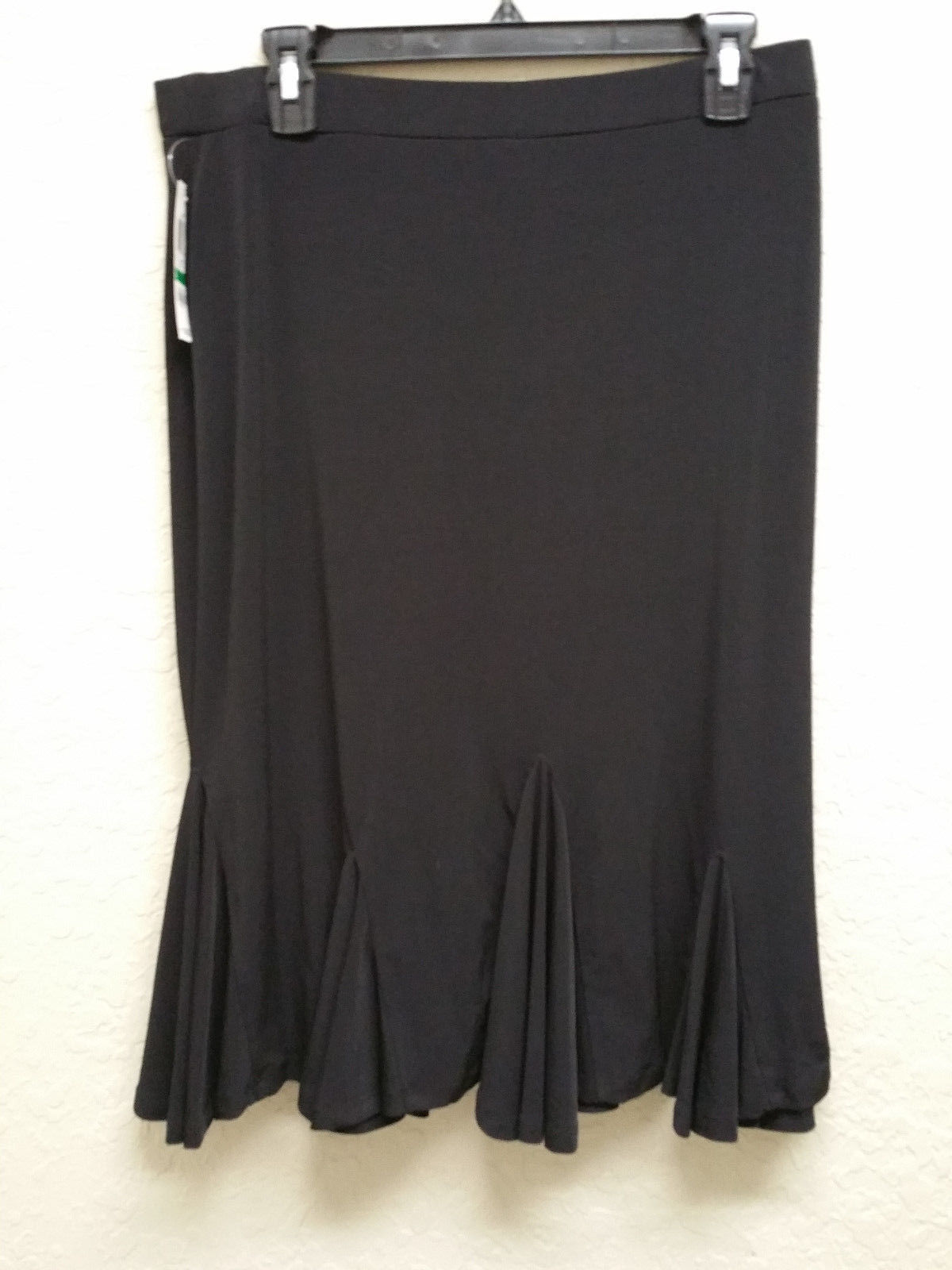JM Collection Petite Flounce Godet Solid Skirt 82266 Deep Black PL