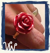 VTG 60s Signed TRIFARI Gold Tone CUSTOM Painted Red/White ROSE Motif Rin... - $24.99