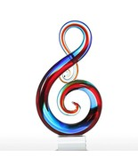 Tooarts Music Note Glass Sculpture Home Decor Ornament Gift Craft Decora... - $90.07
