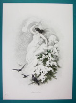 QUEEN OF WINTER Mountain Slope Ravens Birds - VICTORIAN Era Print - $9.79